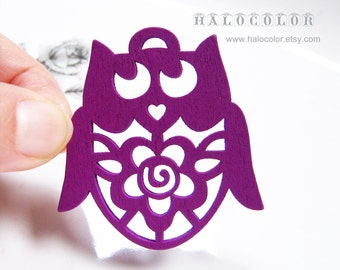 Painting Series 45x48mm Pretty Purple Flower Owls Wooden Charm/Pendant MH079 10