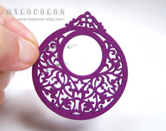Painting Series - 50x55mm Pretty Purple Vintage style Round Wooden Charm/Pendant MH113 10