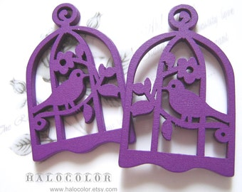 6 PCS - 34x54mm Pretty Purple Bird with Cage Wooden Charm/Pendant MH016 10