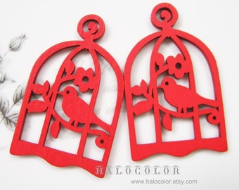 6 PCS - 34x54mm Pretty Red Bird with Cage Wooden Charm/Pendant MH016 03