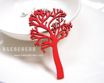 Painting Series  - 35x55mm Pretty Red Tree Wooden Charm/Pendant MH103 03