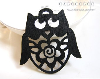 Painting Series - 45x48mm Pretty Black Flower Owls Wooden Charm/Pendant MH079 01