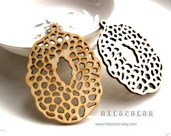 38x48mm Pretty Nature Color Oval Wooden Charm/pendant MH138 11