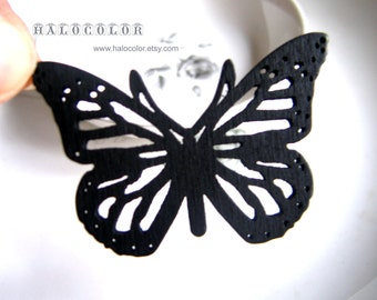 Painting Series 55x40mm Pretty Black Butterfly Wooden Charm/Pendant MH129 01