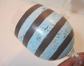 Blue And Brown Stripe Painted Wine Glass