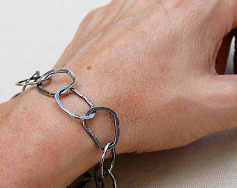 Sterling Silver Bracelet - Metalwork Chain Bracelet - Hammered Jewelry - Ethical Silver - Handmade Chain - Gift For Her - Rustic