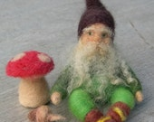 Small Needle Felted Gnome and Toadstool - waldorf style