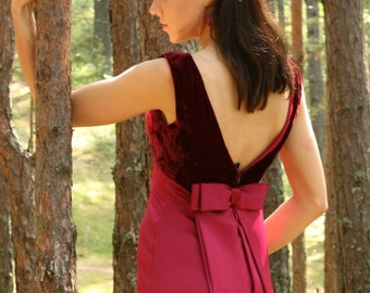 Vintage Red Dress Red Gown Wine Cherry Red Party Dress with Bow Red Velvet Dress