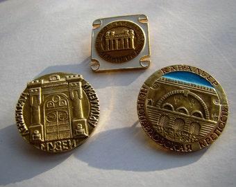 Vintage Metal Pins Badges Leningrad Soviet Vintage Pins USSR Vintage Set of 3 Pins Badges Hat Pins