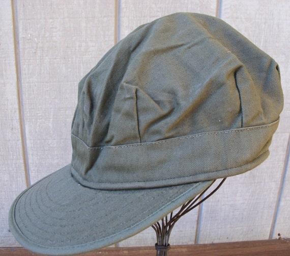 Green US Army Korean War Utility Fatigue Cap Herringbone Twill Military