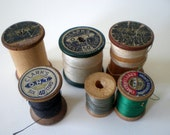 Vintage Wood Wooden Sewing Thread Spools. Primitive Rustic. Instant Collection. Destash. Upcycle. Assemblage