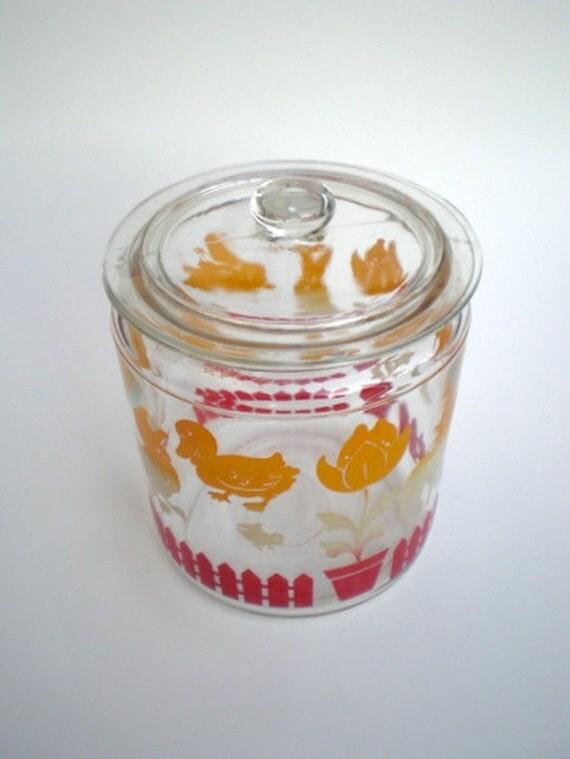 Vintage 30s Glass Cookie Jar Biscuit Jar Lamb Bunny Tulip
