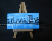 Mini Canvas on Easel - Cleveland, Ohio Cityscape Painting - Oringial
