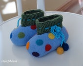 "Hand felted merino wool booties  slippers "" Color dot """