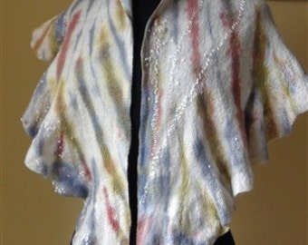 Felted Art hand dyed and painted scarf  - shawl with mittens,warmers,fingerless gloves