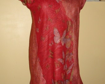Nuno felted dress  or  tunic .  Butterfly, asymmetric