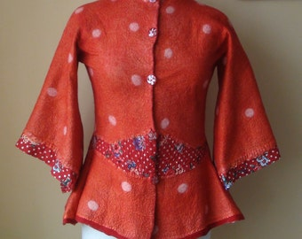 Nuno felted jacket, cardigan.. Reversible 2 in 1 blazer polka dot red floral