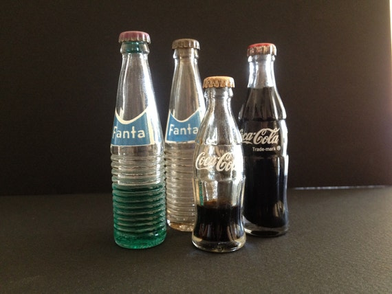 COCA COLA and FANTA Miniatures - Vintage Glass Soda Bottles