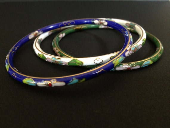 Trio of CLOISONNE BANGLES -  STACKING Bangles - White - Green - Blue