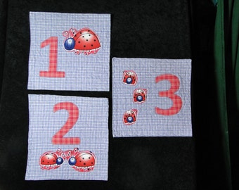 LadyBug Wall Art - Counting Numbers 1 2 3 SET OF THREE Original Children's Art Quilt Wall Hangings