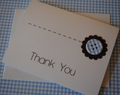 Handmade Thank You Notes (8 per box) - Blue Gingham Button w/ Chocolate Brown Details