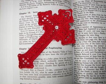 """Large Bright Red Lace """"Cross"""" Bookmark,. Perfect for Valentine's Day, can be made to order"""