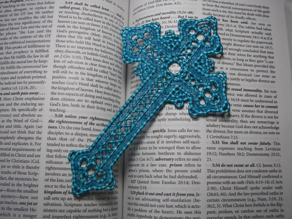 Robin's Egg Blue Large Lace Bookmark Cross...can be made to order