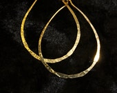 "Vintage small gold plated hammered pear shaped hoop earrings 1 1/2"" FREE SHIPPING"