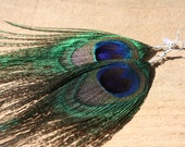 Wire wrapped peacock feather earrings, peacock fringe earrings, no bead FREE SHIPPING