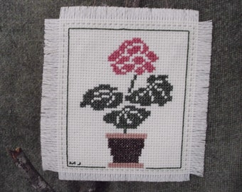 Cross Stitch Mini Wall Hanging GERANIUM