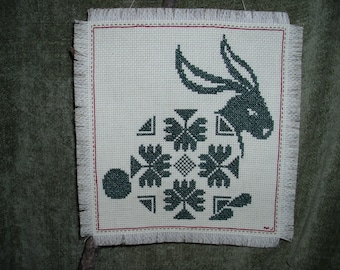 Wall Hanging Cross Stitch One Color RABBIT
