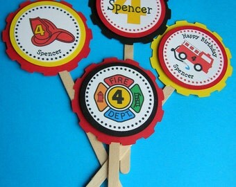 Fire Truck Cupcake Toppers  Personalized  (set of 12), Fire Truck Birthday Party Cake Topper