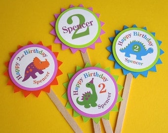 Dinosaur Personalized Cupcake Toppers (set of 12)