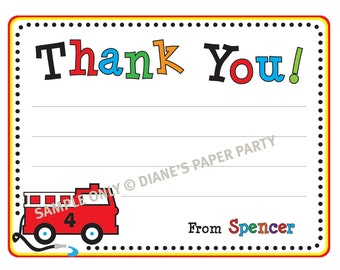 Printable Personalized Fire Truck Thank You Card (DIY)