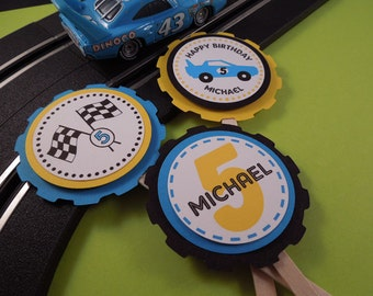 Race Car Birthday Cupcake Toppers (set of 12, personalized)