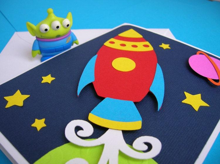 Rocket Ship Space Theme Birthday Invitation Set Of 8