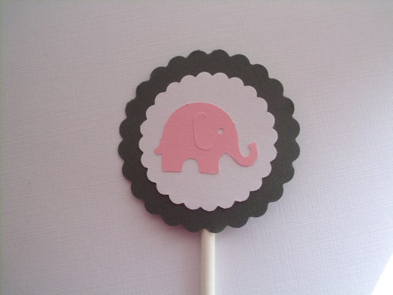 Pink Elephant Cupcake Toppers - Set of 12