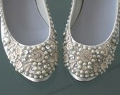 Dazzling Silver and Crystals Bridal Ballet Flats Wedding Shoes - Any Size - Pick your own shoe color and crystal color