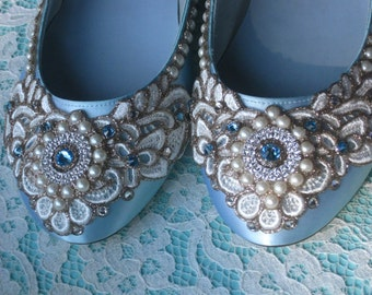 Wreath of Gold Bridal Ballet Flats Robin's Egg Blue Wedding Shoes - Any Size - Pick your own shoe color and crystal color
