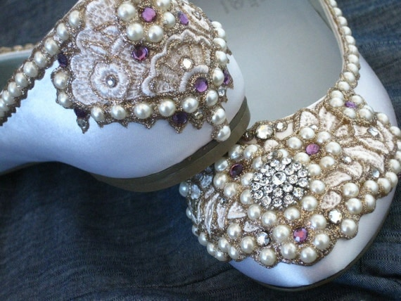 Royal Ivory Bridal Ballet Flats Wedding Shoes - Any Size - Pick your own shoe color and crystal color