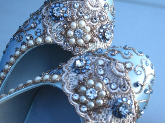 Golden Vines Bridal Heels Wedding Shoes - Any Size - Pick your own shoe color and crystal color