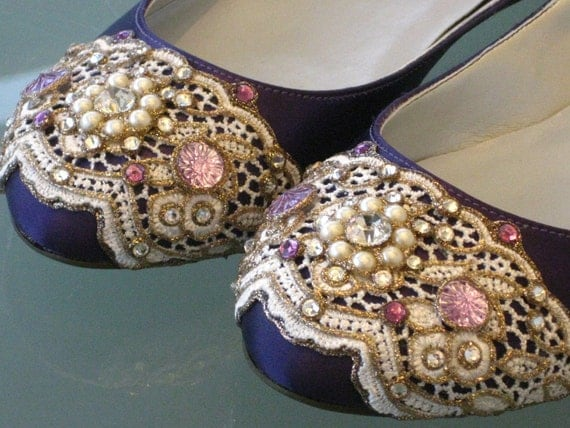 Deep Purple Ballet Flats Wedding Shoes - Any Size - Pick your own shoe color and crystal color