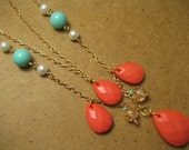 Coral Turquoise Pearl Gold Chain Layered Necklace