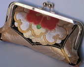 Vintage Japanese Kimono Obi Silk Evening Clutch - Striking Black, Red, & Gold Butterfly Pattern-Bridal,Prom,Wedding