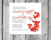 Coral Flourish Wedding Invitation Set