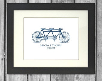 8x10 Tandem Bicycle Personalized Art Print