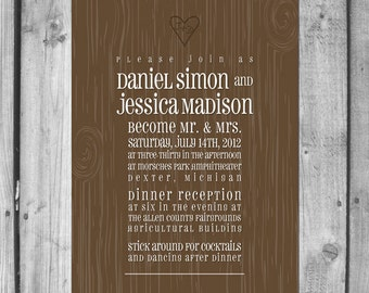 Wood Grain Wedding Invitation Set