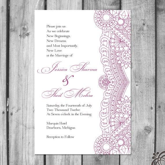 Indian Inspired Wedding Invitation Set