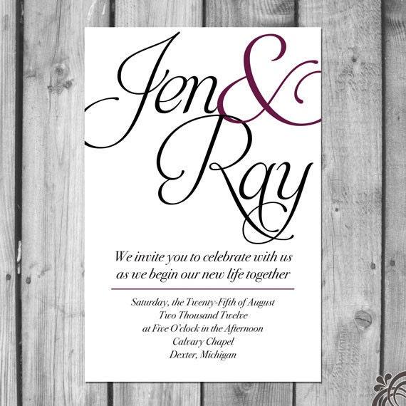 Simple Names Wedding Invitation Set