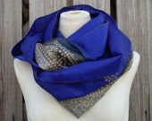 Infinity Scarf Beautiful Upcycled VINTAGE Silk SARI Scarf Cobalt Blue